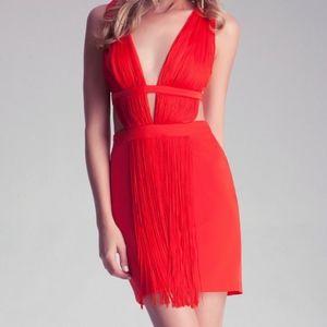 💚 $2/80! Bebe Double Plunge Fringe Dress in Red